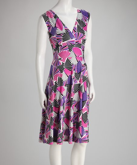 Purple Fan Sleeveless Surplice Dress