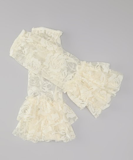 Cream Lace Ruffle Leg Warmers