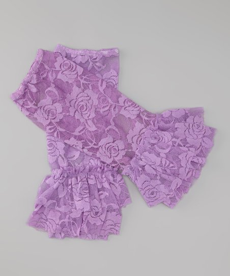 Purple Lace Ruffle Leg Warmers