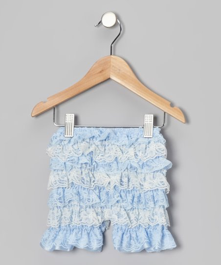 Blue Lace Ruffle Shorts
