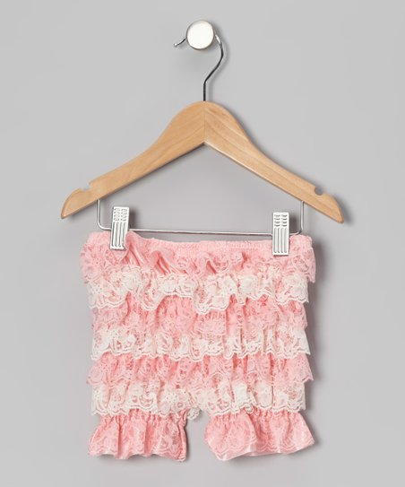 Pink Lace Ruffle Shorts
