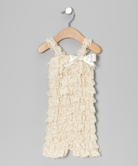 Cream Lace Ruffle Romper
