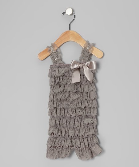 Grey Lace Ruffle Romper