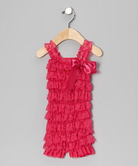 Hot Pink Lace Ruffle Romper