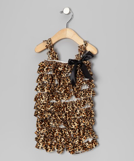Tan Leopard Ruffle Romper