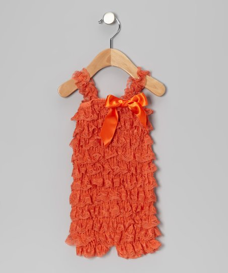 Orange Lace Ruffle Romper