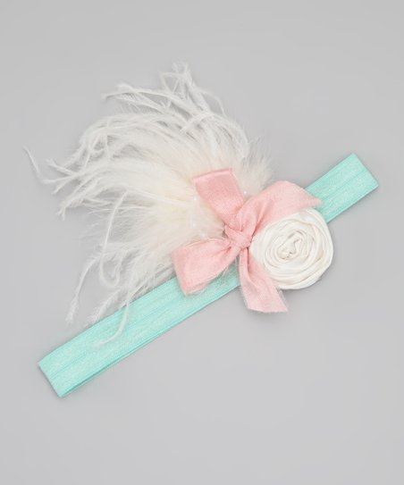 White & Aqua Prim Headband