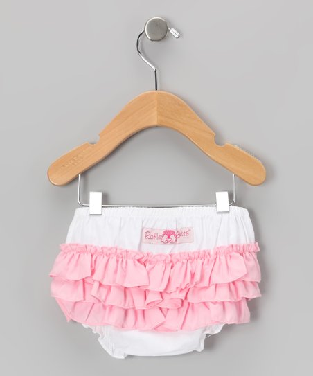 White & Pink Wave Ruffle Diaper Cover - Infant & Toddler