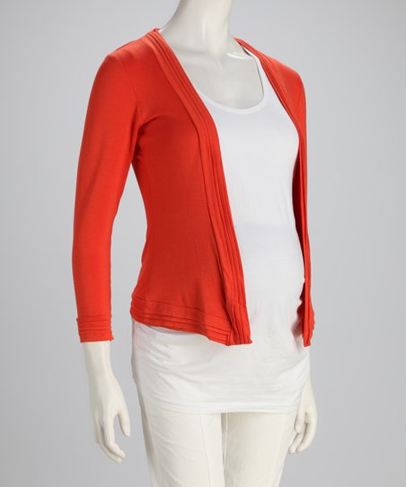 Orange Pleated Jersey Maternity Cardigan