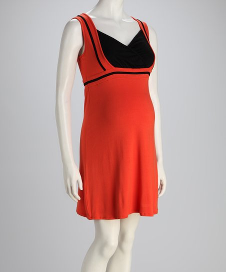 Orange & Black Duo Maternity Dress