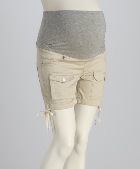 Beige Maternity Shorts