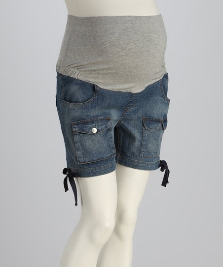 Denim Tie Maternity Shorts
