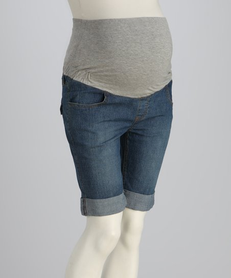 Denim Bermuda Maternity Shorts