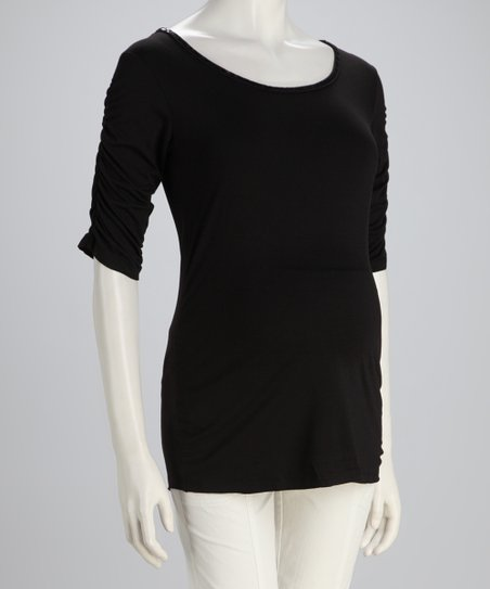 Black Tie-Back Maternity Top