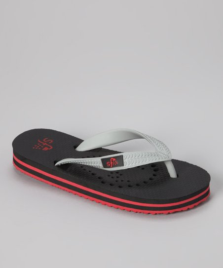 Black &amp; Red Skull Flip-Flop