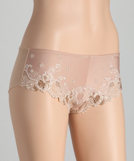 Tan Lace Boyshorts - Women