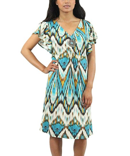 Teal Zigzag Brooch Angel-Sleeve Dress