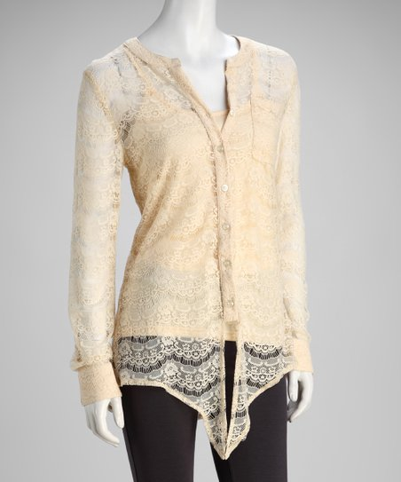 Beige Lace Button-Up Top