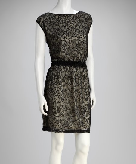 Black Lace Cap-Sleeve Dress