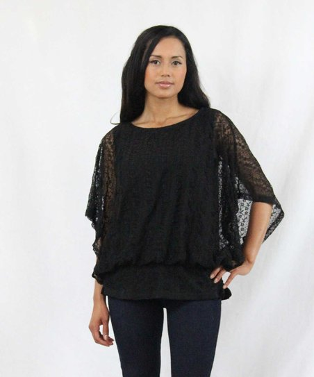 Black Nadine Cape-Sleeve Top