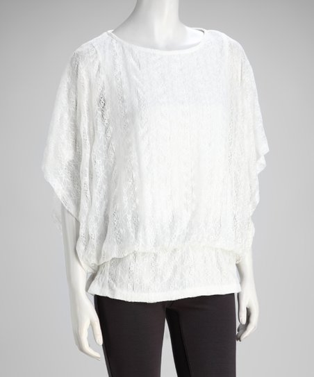 Off-White Lace Blouson Top