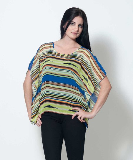 Blue & Orange Sheer Doris Cape-Sleeve Top