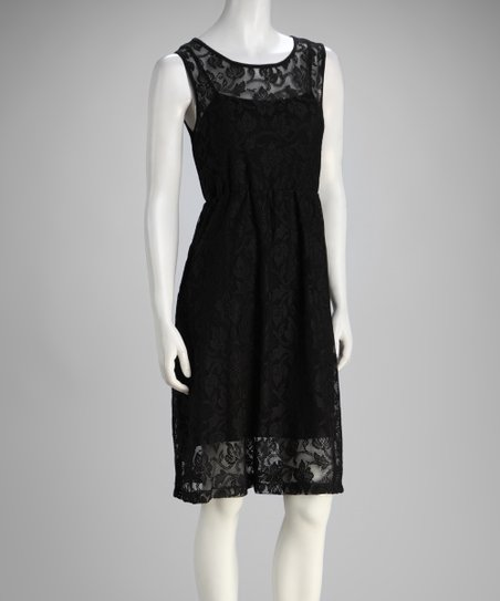 Black Rose Lace Sleeveless Dress