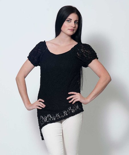 Black Lace Trim Esther Asymmetrical Top