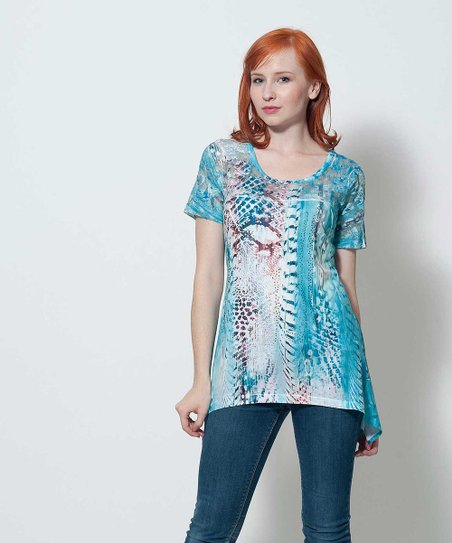 Blue Sheer Back Fay Sidetail Tunic