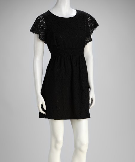 Black Lace Angel-Sleeve Dress