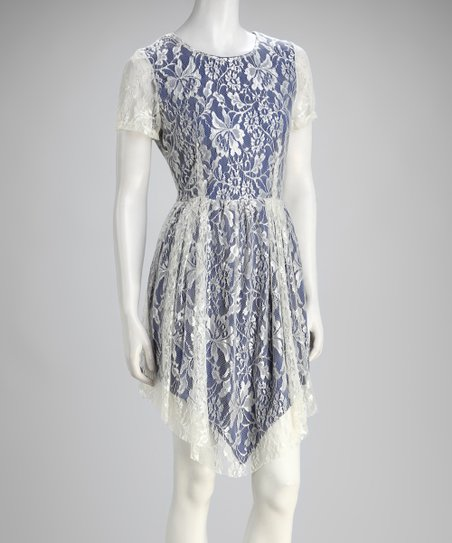 Blue Lace Handkerchief Hem Dress