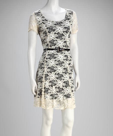 Beige Floral Lace Belted Dress