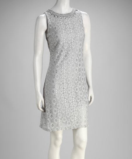 Gray Lace Sleeveless Shift Dress