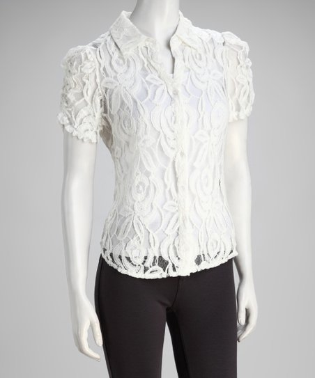 White Sheer Lace Short-Sleeve Button-Up