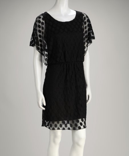 Black Dotted Lace Dress