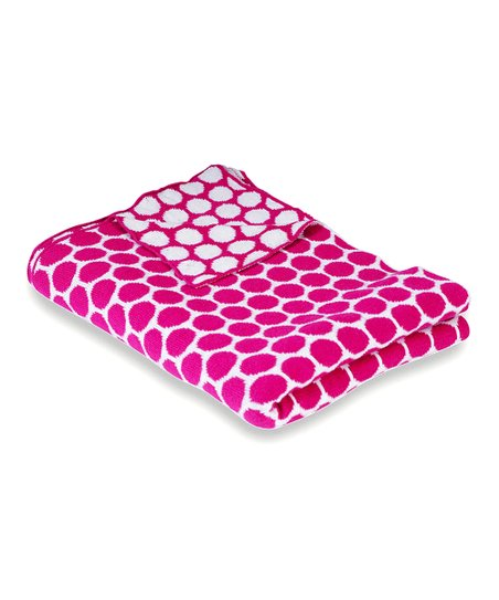 Pink &amp; Natural Polka Dot Receiving Blanket