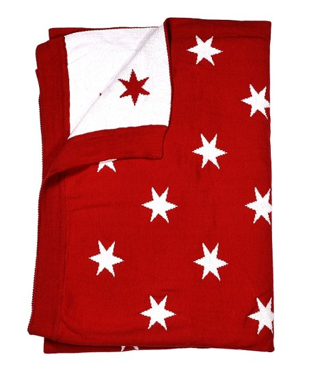 Red & Natural Stars Receiving Blanket