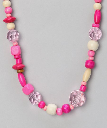 Think Pink Beaded Leather Necklace