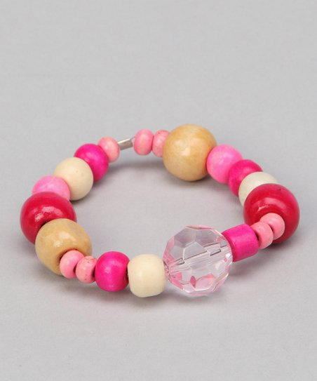 Pink Cotton Candy Beaded Leather Bracelet