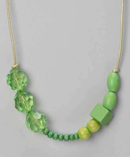Go Green Beaded Leather Necklace