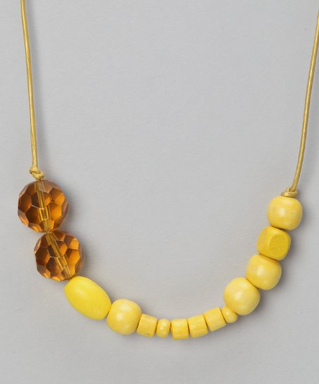 Mellow Yellow Beaded Leather Necklace