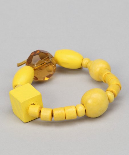 Mellow Yellow Beaded Leather Bracelet