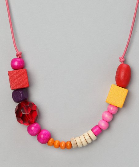 Red Wild Flower Beaded Leather Necklace