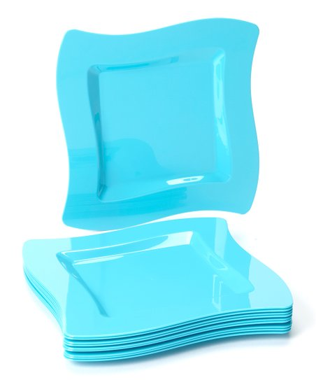 Caribbean Wavy Square 10'' Plate - Set of 10