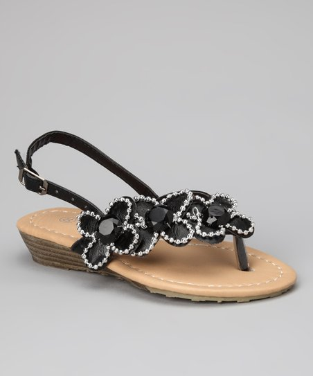 Black Quatre Flower Sandal