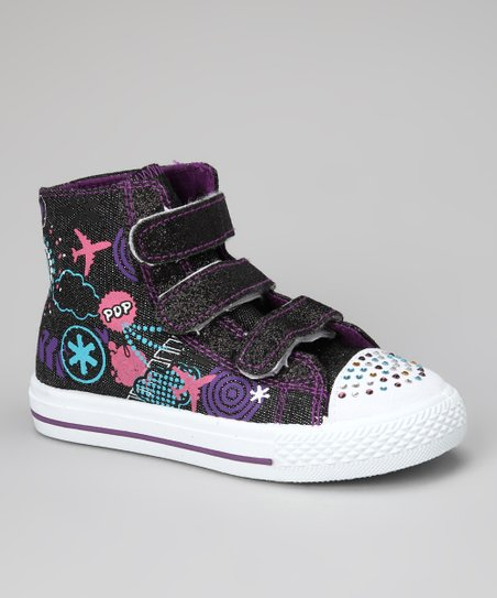 Black Graphic Hi-Top Sneaker