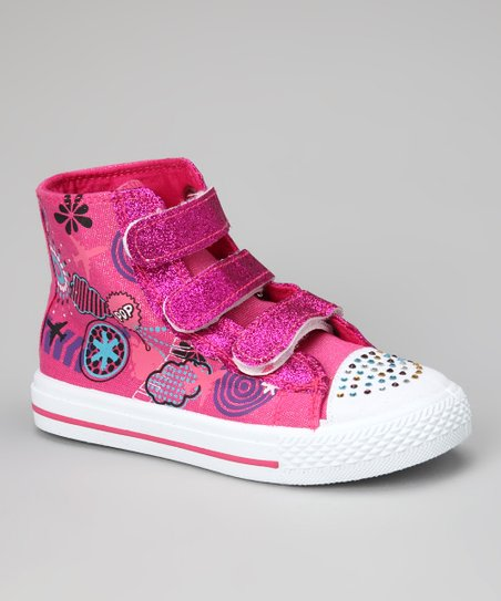 Fuchsia Graphic Hi-Top Sneaker