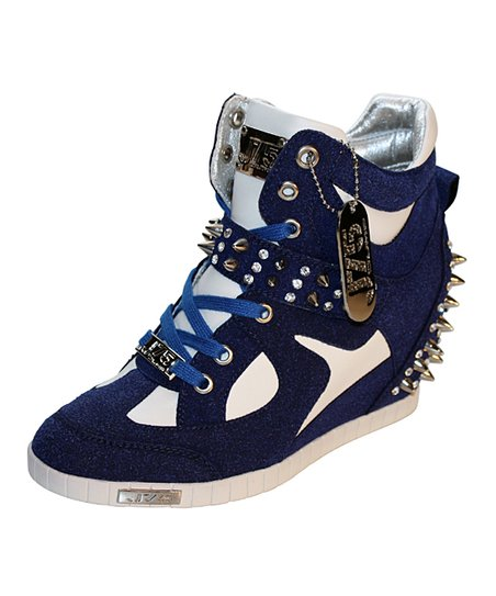 Navy Adele Studded Wedge Sneaker