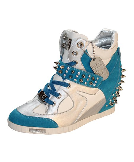 Aqua White Adele Studded Wedge Sneaker