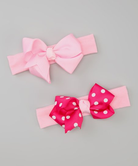 Pink Polka Dot Bow Headband Set